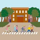 Ilustracja z dzieciakami chodzi szkoła Zdjęcie Stock