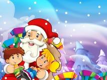 Ilustracja z dzieciakami i teraźniejszość zabawa i szczęście - prezentacja boże narodzenia - prezenty - Zdjęcia Royalty Free