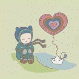 Ilustracja z dzieckiem i papierowym łódkowatym unosić się  Fotografia Royalty Free