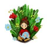 Ilustracja z dziewczyną i słoniem troszkę ilustracja wektor