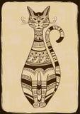 Ilustracja z etnicznym wzorzystym kotem Obraz Royalty Free