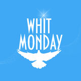 Ilustracja z gołębia lub gołąbki sylwetką: Whit Poniedziałek Poniedziałek także znać jako Poniedziałek Święty duch lub Pentecost Fotografia Stock