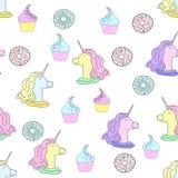 Ilustracja z jednoro?ec, donuts i tortami, ?mietanka lodu Wz?r w mieszkanie stylu na bia?ym tle royalty ilustracja