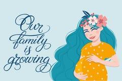 Ilustracja z kobieta w ciąży Ręka rysująca piszący list ` Nasz rodzina jest narastającym ` Zdjęcia Royalty Free