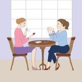 Ilustracja z kobietami przy kawiarnią Zdjęcie Royalty Free