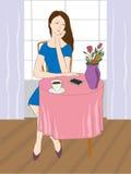 Ilustracja z kobietami przy kawiarnią Fotografia Royalty Free