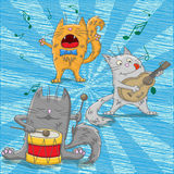 Ilustracja z śmiesznymi kotów muzykami Obrazy Stock