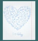 Ilustracja z notatnika papierem z ikonami na temacie biologia układa w formie serca Fotografia Royalty Free