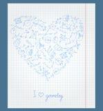 Ilustracja z notatnika papierem z ikonami na temacie geometria układał w formie serca Obrazy Royalty Free