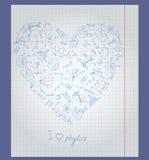 Ilustracja z notatnika papierem z ikonami na temacie physics układał w formie serca Obraz Stock