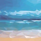 Ilustracja z oceanem i plażą Fotografia Royalty Free