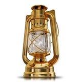 Ilustracja złocista Antykwarska nafty lampa Obrazy Stock
