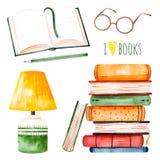 Ilustracja z ogromnym stosem książki, lampa, otwiera książkę, ołówek i szkła, royalty ilustracja