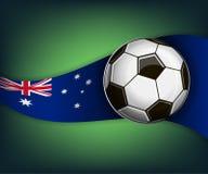 Ilustracja z piłką i flaga Australia futbolu lub soccet ilustracja wektor