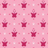 Ilustracja z różowymi motylami, bezszwowy tło, bezszwowy wzór Zdjęcie Stock