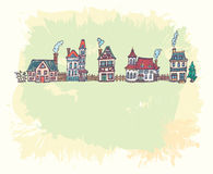 Ilustracja z starą europejską ulicą Ilustracja Wektor
