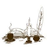 Ilustracja z starymi writing atrybutami Zdjęcia Royalty Free