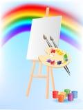 Ilustracja z sztalugą, paleta farby i Zdjęcia Royalty Free