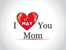 Ilustracja z tekstem 11th Maj dla Szczęśliwych matek Fotografia Royalty Free