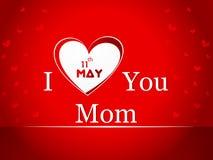 Ilustracja z tekstem 11th Maj dla Szczęśliwych matek Zdjęcie Royalty Free