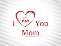 Ilustracja z tekstem 11th Maj dla Szczęśliwych matek Zdjęcia Stock