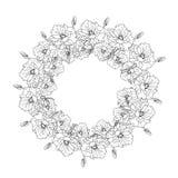 Ilustracja z wiankiem kwiaty, czarny i biały Obrazy Royalty Free