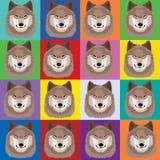 Ilustracja z wilkami w wystrzał sztuki Andy Warhol stylu ilustracji
