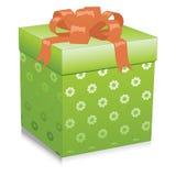 Ilustracja z zielonym prezenta pudełkiem ilustracja wektor