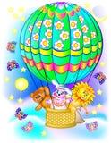 Ilustracja zabawki podróżuje balonem Fotografia Royalty Free