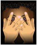 Ilustracja zakrywająca z ręka gwałta nadużycia Wektorową Ilustracyjną wigilią dokucza zbawczą pojęcie ilustrację przelękła twarz ilustracja wektor