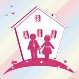 Ilustracja zakupu dom dla rodziny sylwetka royalty ilustracja