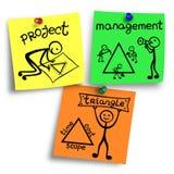 Ilustracja zarządzanie projektem trójbok na kolorowe notatki Obraz Royalty Free