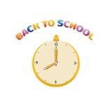 Ilustracja zegar dla z powrotem szkoła Obrazy Stock