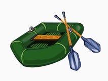 Ilustracja zielona nadmuchiwana łódź z wiosłami Obrazy Royalty Free
