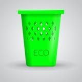 Ilustracja zielony eco kosz na śmiecie Fotografia Royalty Free