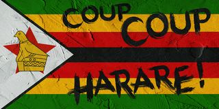 Ilustracja Zimbabwe graffiti na ścianie i flaga Zdjęcia Royalty Free