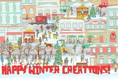 Ilustracja zimy miasto z ludźmi jazda na łyżwach, chodzący na ulicie, jedzący w restauracyjnym, bawić się skrzypce i bębeny Obrazy Stock