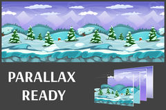 Ilustracja zimy natury krajobraz z lodem, śnieżnymi wzgórzami i górami, wektorowy bez końca tło z oddzielonymi warstwami Obrazy Royalty Free