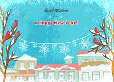 Ilustracja zimy powitania z zimy czerwonymi ptakami na drzewach i płatek śniegu dekoraci Zdjęcie Stock