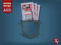 Ilustracja Zjednoczone Emiraty Arabskie dirham pieniądze w kieszeni niebiescy dżinsy ilustracji