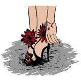 Ilustracja zmysłowe kobiet nogi w sandałach Ilustracji