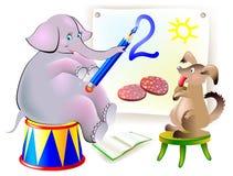 Ilustracja zwierząt uczyć się pisze liczbach Obrazy Royalty Free