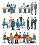Ilustracje biurowi spotkania i prezentacje ilustracja wektor