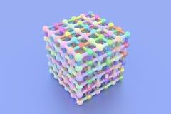 Ilustracje geometryczne CGI, molekuły stylowy concepture, blokujący kwadrat dla graficznego projekta lub tapety, 3 d czyni? royalty ilustracja