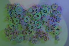 Ilustracje geometryczne CGI, wiązka, widok od wierzchołka dla graficznego projekta lub tapety, trójbok & gwiazda, 3 d czyni? ilustracji