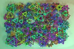 Ilustracje geometryczne CGI, wi?zka, widok od wierzcho?ka dla graficznego projekta lub tapety, tr?jbok & gwiazda, 3 d czyni? royalty ilustracja