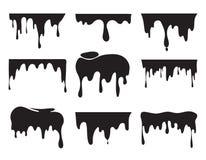 Ilustracje różnorodna kapiąca czarna farba Wektorowi obrazki pluśnięcia ilustracja wektor