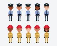 Ilustracje USA Milicyjne I Pożarnicze usługa Zdjęcia Stock