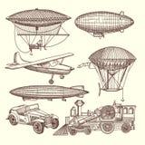 Ilustracje ustawiać maszyny w steampunk stylu ilustracja wektor