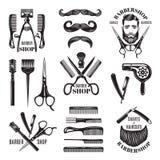 Ilustracje ustawiać różni fryzjera męskiego sklepu narzędzia Symbole dla odznak i etykietek